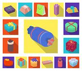 Gift And Packing Flat Icons In Set Collection For Design.colorful Packing Vector Symbol Stock Web Il poster