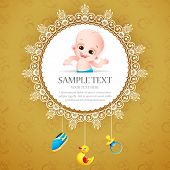 Постер, плакат: Иллюстрация baby прибытия карты с фотографией ребенка