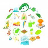 Ecology Icons Set. Cartoon Set Of 25 Ecology Icons For Web Isolated On White Background poster