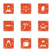 Privacy Icons Set. Grunge Set Of 9 Privacy Icons For Web Isolated On White Background poster