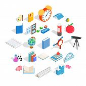 College School House Icons Set. Isometric Set Of 25 College School Icons For Web Isolated On White B poster