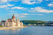 Travel And European Tourism Concept. Parliament And Riverside In Budapest Hungary With Sightseeing S poster