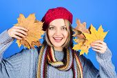 Autumn Theme. Smiling Woman With Maple Leaves. Autumn Mood. Woman With Autumn Leaf. Yellow Maple Lea poster