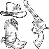 stock photo of vaquero  - Doodle style cowboy objects illustration in vector format including gun - JPG