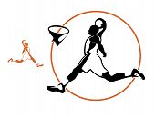 Basketball Player, Vector Silhouette. Vector Basketball Player Scoring A Goal In A Jump. poster