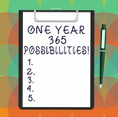 Word Writing Text One Year 365 Possibilities. Business Concept For Fresh New Start Opportunities Mot poster