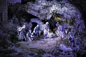 Scene Of Belen Where The Figures Represent The Cave Or The Manger Where Jesus Was Born poster