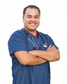 Hispanic Male Nurse Isolated On White. poster