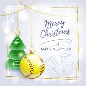 Merry Christmas. Happy New Year. Sports Greeting Card. Softball. Vector Illustration. poster