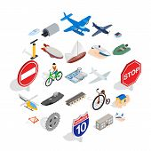 Private Flying Machine Icons Set. Isometric Set Of 25 Private Flying Machine Vector Icons For Web Is poster