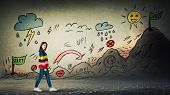 Casual Woman Starting A Life Quest With Obstacles Drawn On Wall. Self Overcome Imaginary Climbing Mo poster