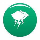 Cloud Thunder Flash Icon. Simple Illustration Of Cloud Thunder Flash Icon For Any Design Green poster