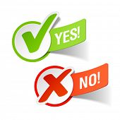 stock photo of check  - Yes and No check marks - JPG