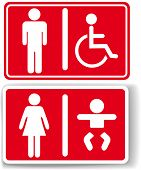 foto of diaper change  - Signs for restroom men women baby diaper changing handicapped access - JPG