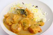 A prawn korma curry served with pilau rice