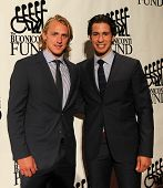 NEW YORK-SEPT. 24: New York Rangers Carl Hagelin and Michael Del Zotto (R) attend the Great Sports L