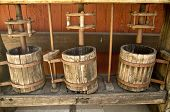 pic of wine-press  - Old fasioned wooden wine presses at a California vineyard - JPG