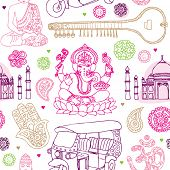 stock photo of rickshaw  - Seamless india buddha oriental travel illustration background pattern in vector - JPG