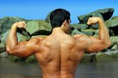 picture of body builder  - full color photo of body builder flexing his back by the ocean with rocks in the background - JPG