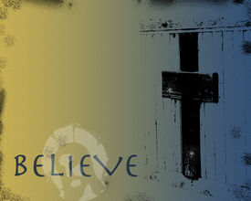 pic of christian cross  - JPEG illustration in blue and yellow subdued hues with grunge effects - JPG