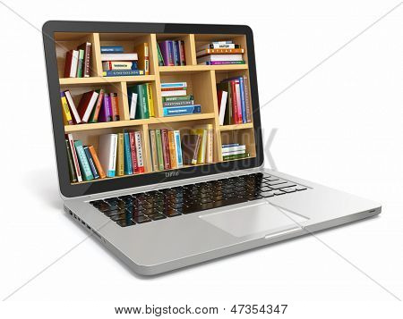 E-learning education or internet library. Conceptual image poster