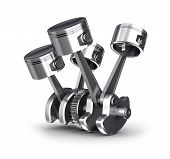 stock photo of piston-rod  - Engine pistons and cog - JPG