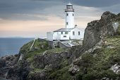 stock photo of coast guard  - White lighthouse at Fanad Head North Coast of Donegal Ireland - JPG