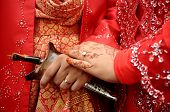 stock photo of muslimah  - A hand of couple Malay wedding traditional - JPG