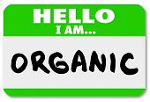 image of pesticide  - A green nametag sticker with the words Hello I Am Organic to illustrate natural food sources and options free of pesticides and growth hormones - JPG