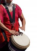 stock photo of penticton  - Close up of drumming by woman in bright clothes Penticton British Columbia Canada - JPG