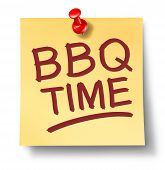 stock photo of bbq party  - Barbecue office note saying BBQ time on a white background with a red thumb tack as a leisure activity symbol of cooking meat on a hot grill for an outdoor party or summer family get together - JPG