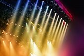 stock photo of stage theater  - Colorful Stage lights at concert - JPG