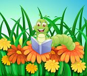 pic of storybook  - Illustration of a worm reading a book at the garden - JPG