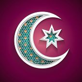 pic of hari  - islamic background with a new moon and star vector - JPG