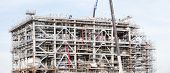 Panorama Assembling of liquefied natural gas Refinery Factory with LNG storage tank using for Oil an