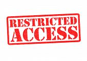 image of restriction  - RESTRICTED ACCESS Rubber Stamp over a white background - JPG