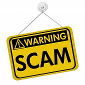 image of hazard symbol  - A yellow and black sign with the word Scam isolated on a white background Warning of Scam - JPG