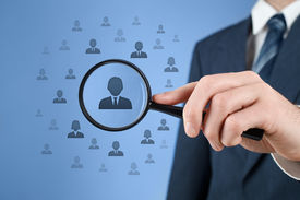 stock photo of gender  - Human resources CRM data mining and social media concept  - JPG
