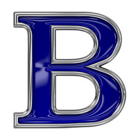 stock photo of b-double  - Metal silver and blue alphabet letter symbol  - JPG