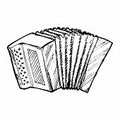 pic of accordion  - hand drawn sketch cartoon illustration of accordion - JPG