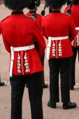 image of guardsmen  - A back view of British Guardsmen as they  stand easy on parade - JPG