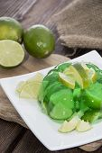 picture of jello  - Portion of homemade Lime Jello on a plate - JPG