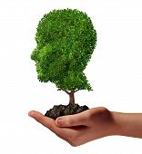 foto of nurture  - Life development concept with a hand holding a green tree shaped as a human head as a nurture metaphor and nature symbol for protection of the environment and growth potential - JPG