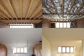 picture of reconstruction  - construction of the wooden frame of a roof