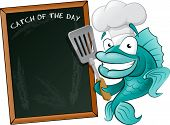 stock photo of cod  - Cute Chef Fish with Spatula and Menu Board - JPG