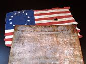 stock photo of betsy ross  - The Declaration of Independence and the Betsy Ross Flag