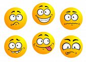 stock photo of emoticon  - Set of six round yellow emoticons showing facial expression depicting happiness - JPG
