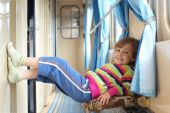 Girl In Corridor Of Railway Car