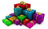 stock photo of christmas-present  - Group of Presents in Colorful Wrapping Gift Boxes - JPG