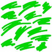 stock photo of neon green  - green Colored Markings Of A Highlighter Pen - JPG